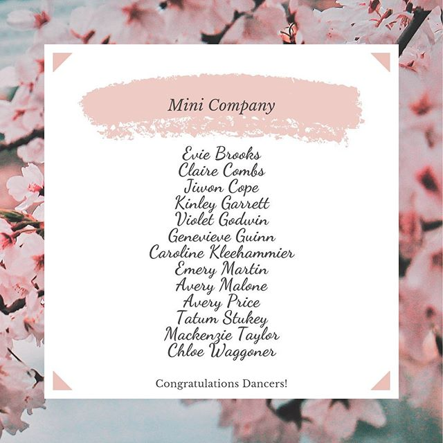 Oops!! In our excitement to post our company results, we accidentally left off a name and had a spelling error, so here is the updated list for our Mini Company!! 🎀