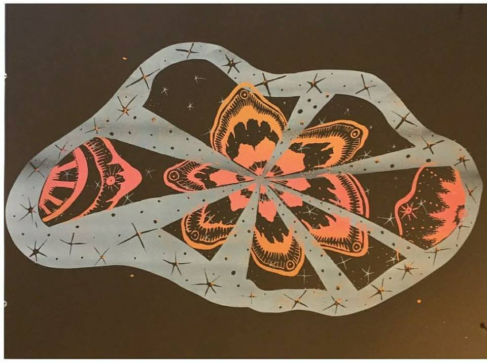 A screenprint on fabric by Laurie Shapiro.