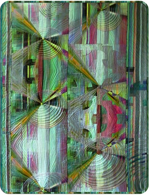 Paths , 2011, Gudny Campbell  Silk charmeuse top, silk ribbon binding, silk batting, cotton backing, yarn, beads