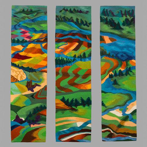 "Jan Moore.  River, Take Me Along , 2014. Tapestry. Wool, 66"" x 54"""