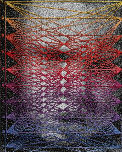 Positivity su Data , Lia Cook  60 x 48 inches, cotton, rayon; woven