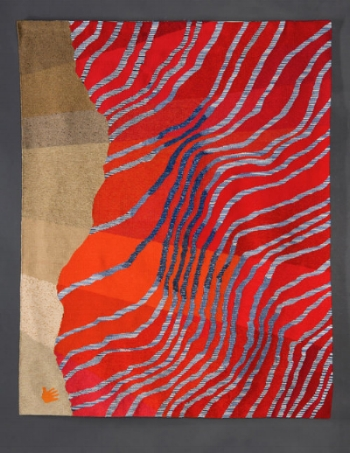 """Here Today,  Alex Friedman, 2013  Wool, cotton warp, spaced dyed wool, Tapestry, 72"""" x 54.5"""""""