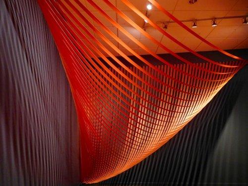 Sabine Recekwell, Linear Intervention, 2017, Polyester webbing, wood strips, screws