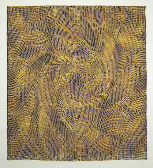 Janice Lessman-Moss  #460, Casting Shadows , 2017 Silk, linen Digital jacquard, hand woven TC2 loom, painted warp and weft