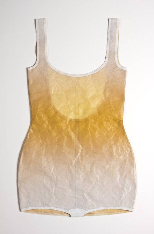 Golden U-back suit, 2012 Ink on matsuo kozo, thread Monotype on matsuo kozo, stitching  Photo: Jeffrey M. Bruce