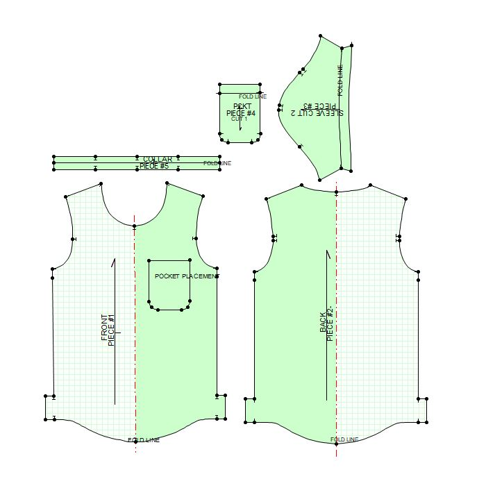 2D TO 3D DIGITAL PATTERN MAKING - 2D Digital Pattern is created according to specific clothing style design requirements. The clothing pattern is well balanced, labeled and ready for the next step- 3D digital sample visualization and style fit evaluation.