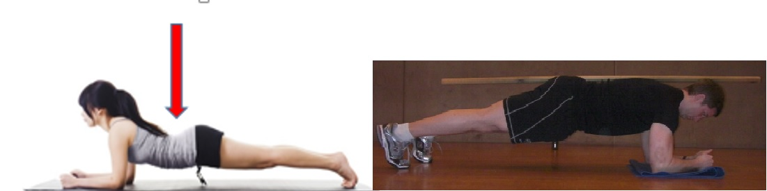 Bad plank on the left - note the excessive spinal extension. Good plank on the right