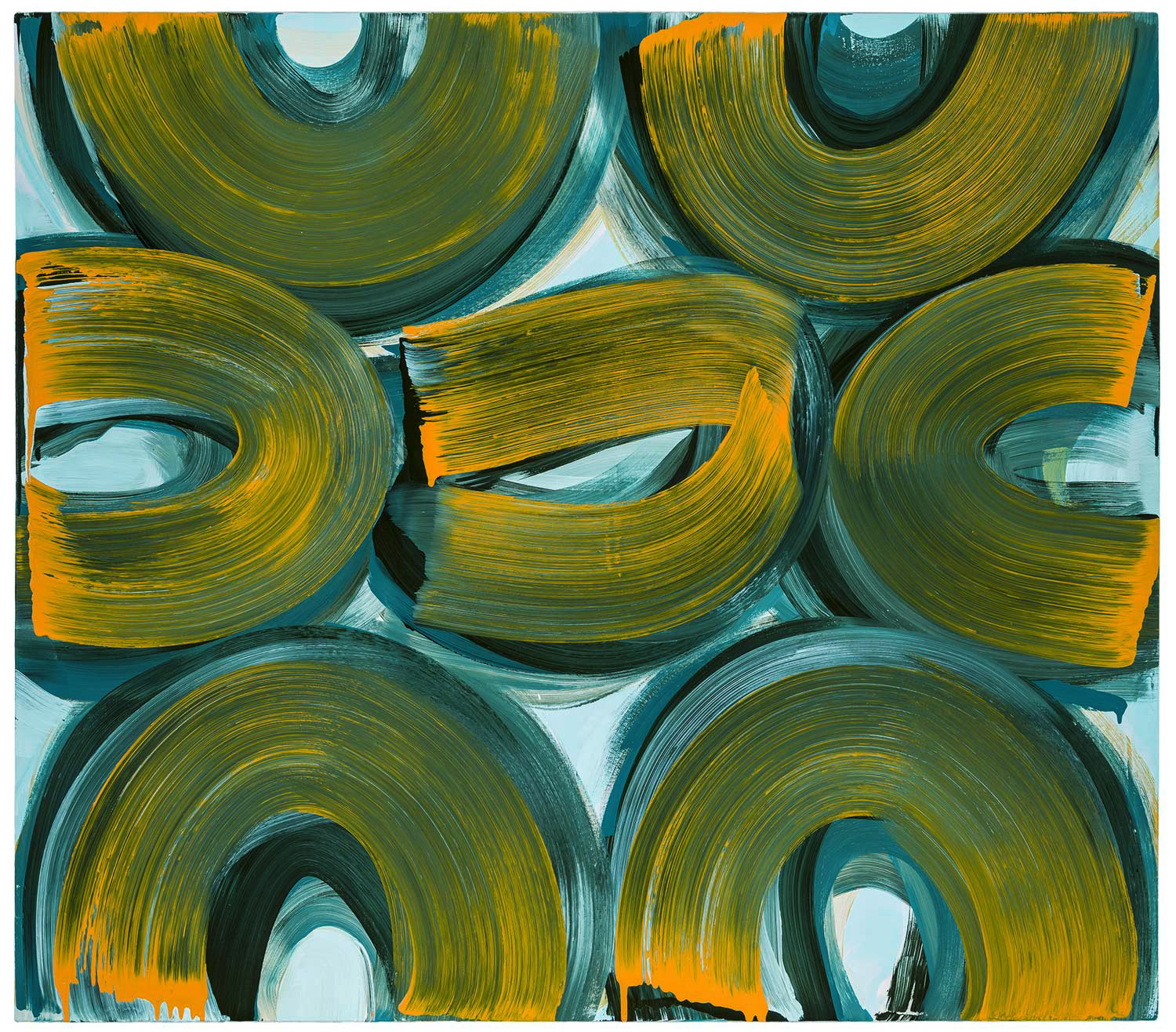 Linchpin , 2018 oil on canvas 44 x 50 in.  Available at 1stdibs through ODETTA Gallery:  https://www.1stdibs.com/art/paintings/abstract-paintings/anne-russinof-anne-russinof-lynchpin-2018-oil-on-canvas-44-x-50-inches/id-a_4429711/