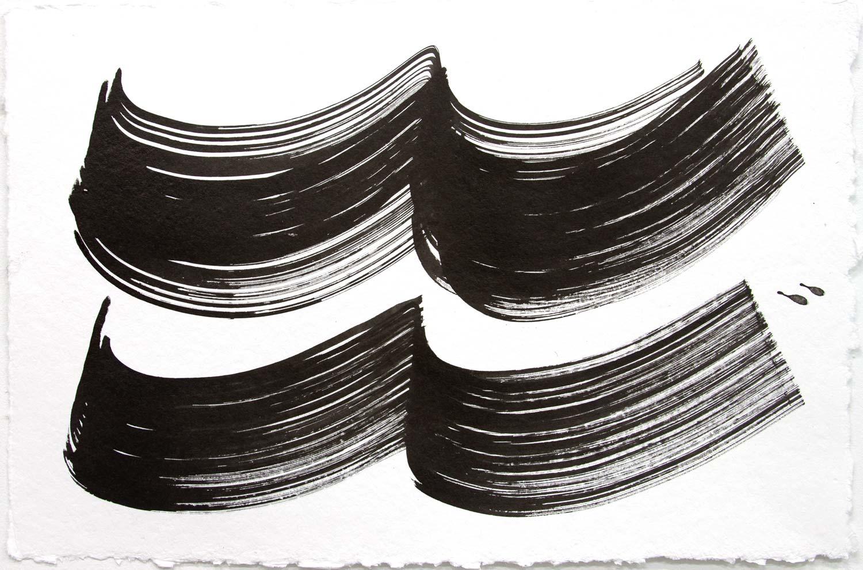 Wavelength 4 , 2018, Sumi Ink on rag paper, 12 x 18 in.