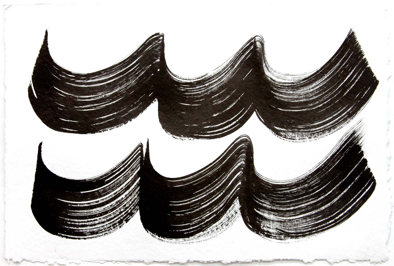 Wavelength 5 , 2018, Sumi Ink on rag paper, 12 x 18 in.