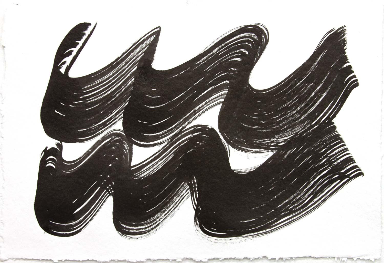 Wavelength 6 , 2018, Sumi Ink on rag paper, 12 x 18 in.