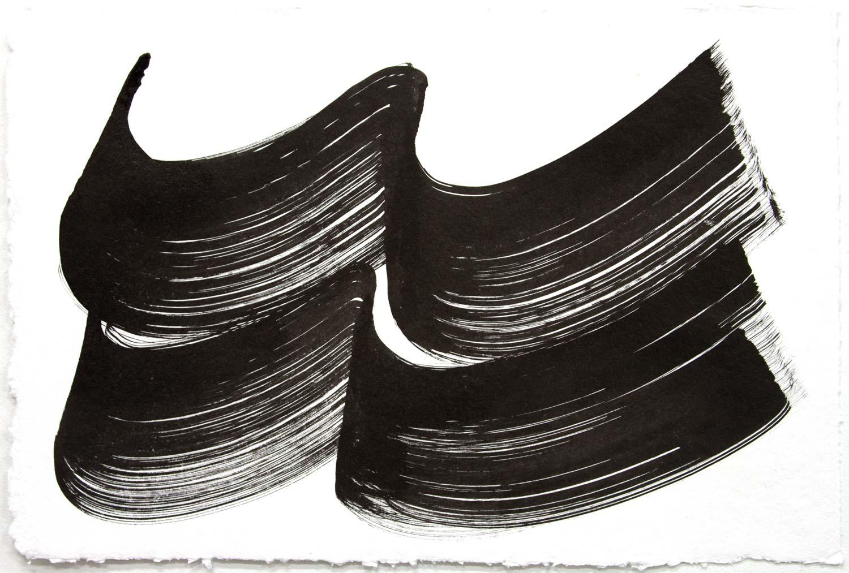 Wavelength 7 , 2018, Sumi Ink on rag paper, 12 x 18 in.