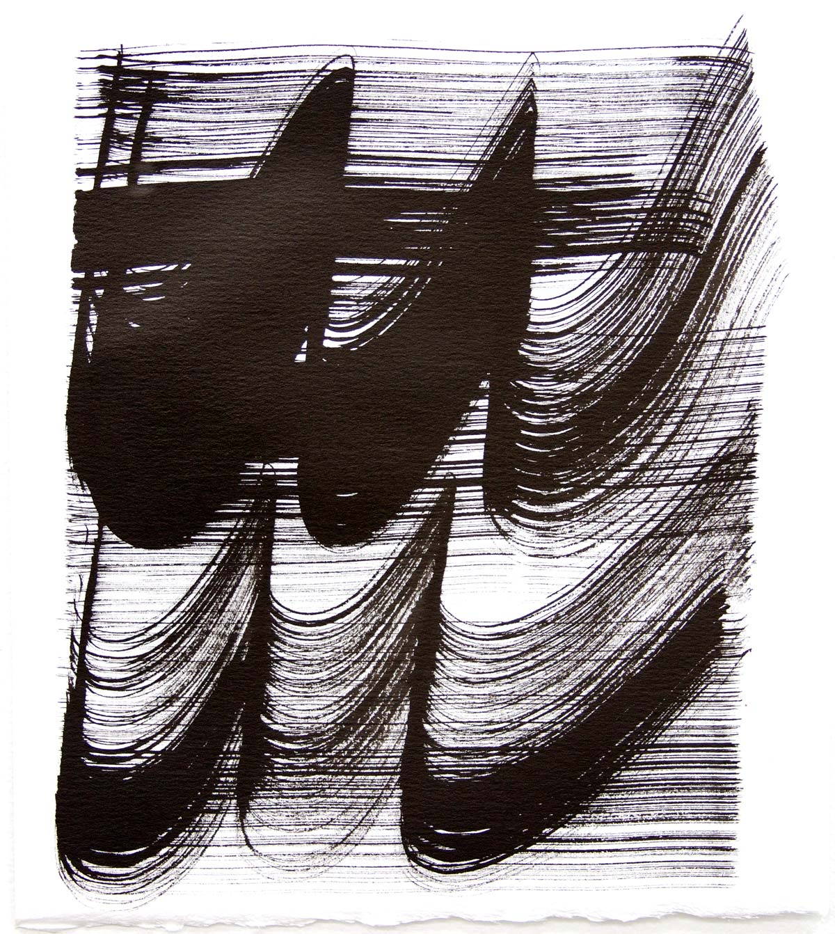 Waves 27 , 2018, Sumi Ink on rag paper, 10 x 9 in.