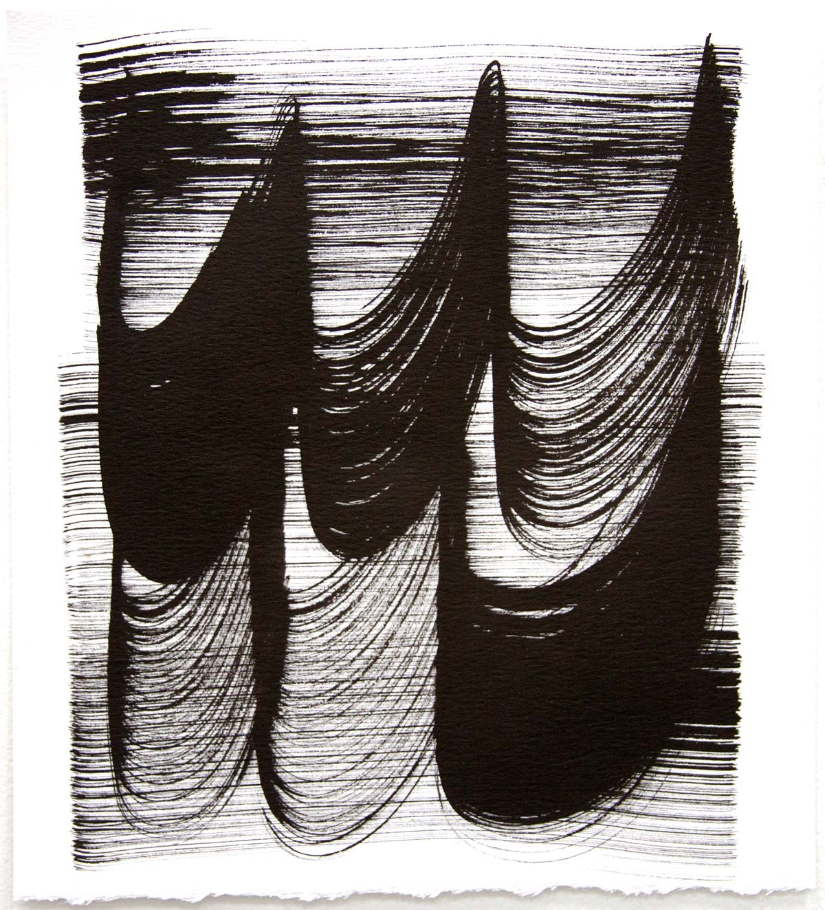 Waves 29,  2018, Sumi Ink on rag paper, 10 x 9 in.