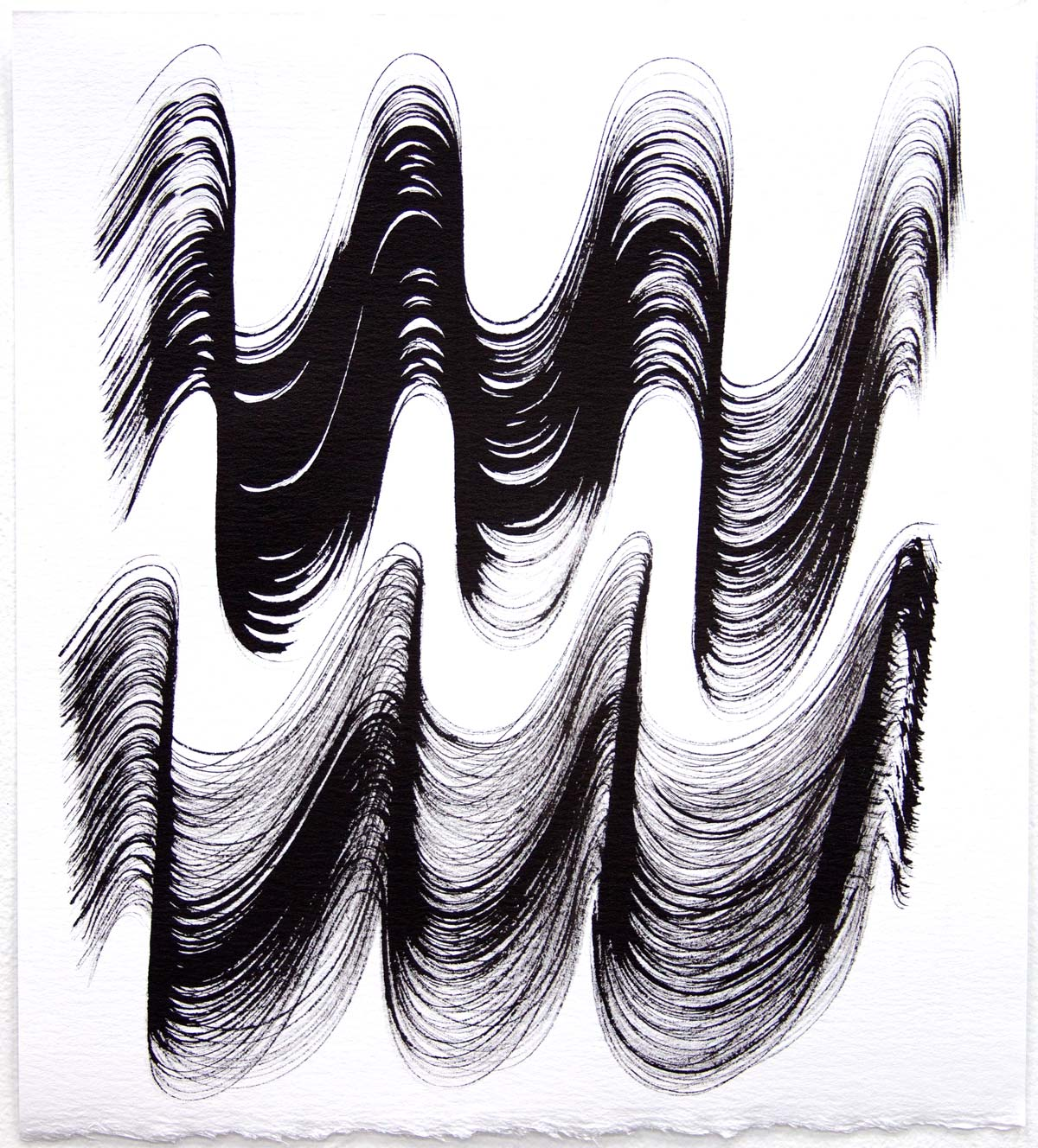 Waves 19,  2018, Sumi Ink on rag paper, 10 x 9 in.
