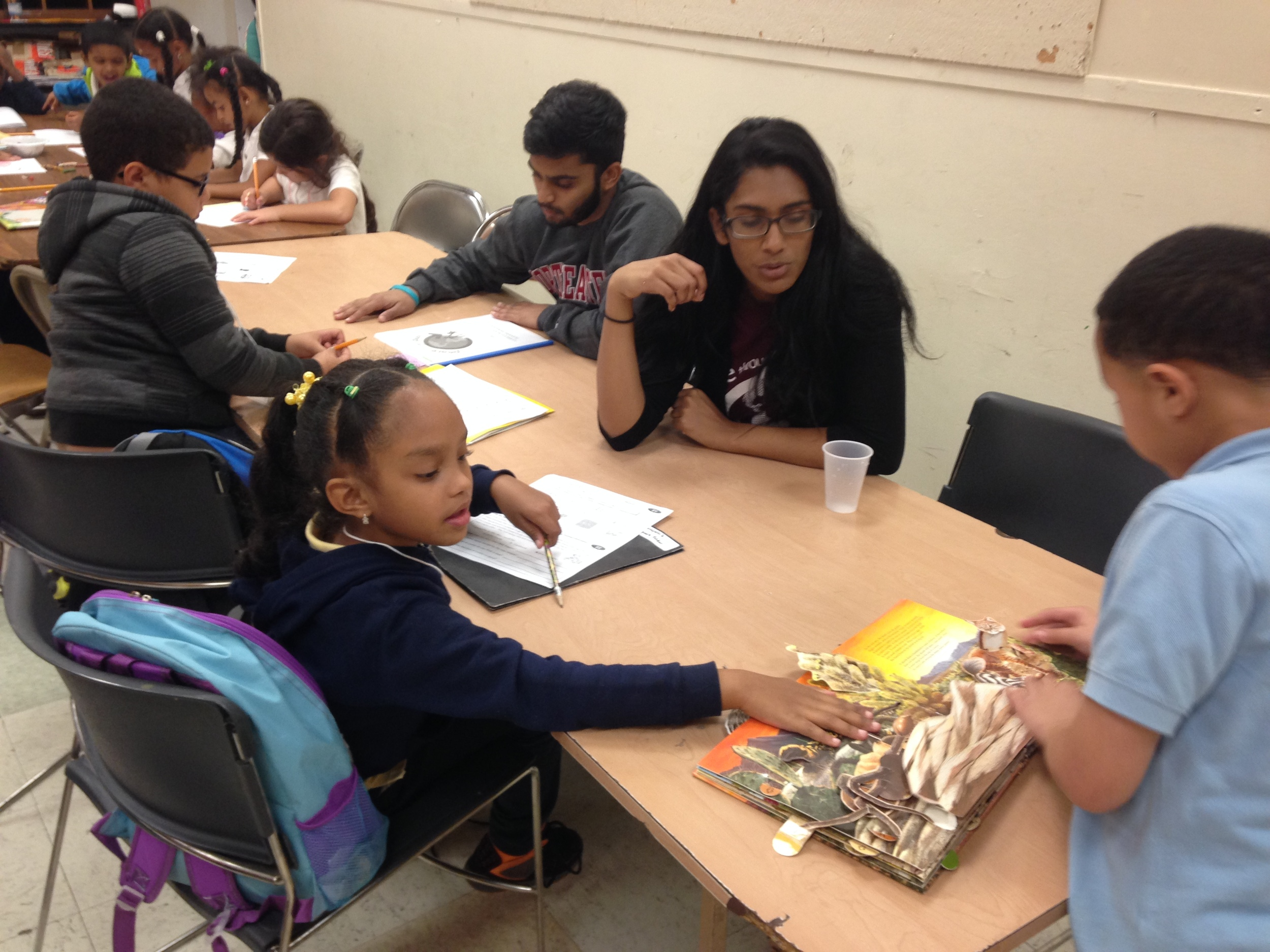 Peace through play volunteers work with b-ready students on positive conflict resolution