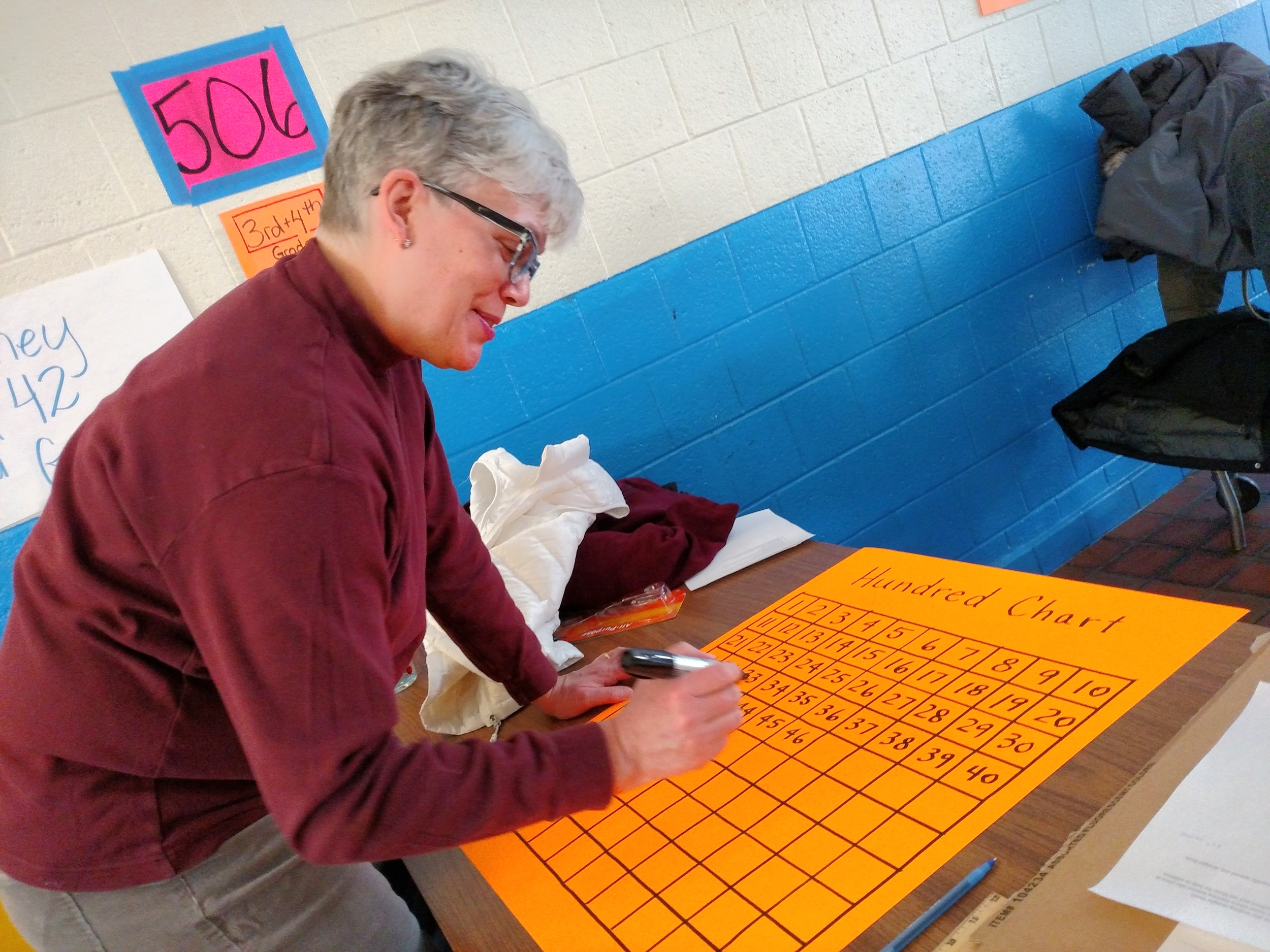 A Volunteer Creates a Hundreds Chart to Support Students at the Blackstone School