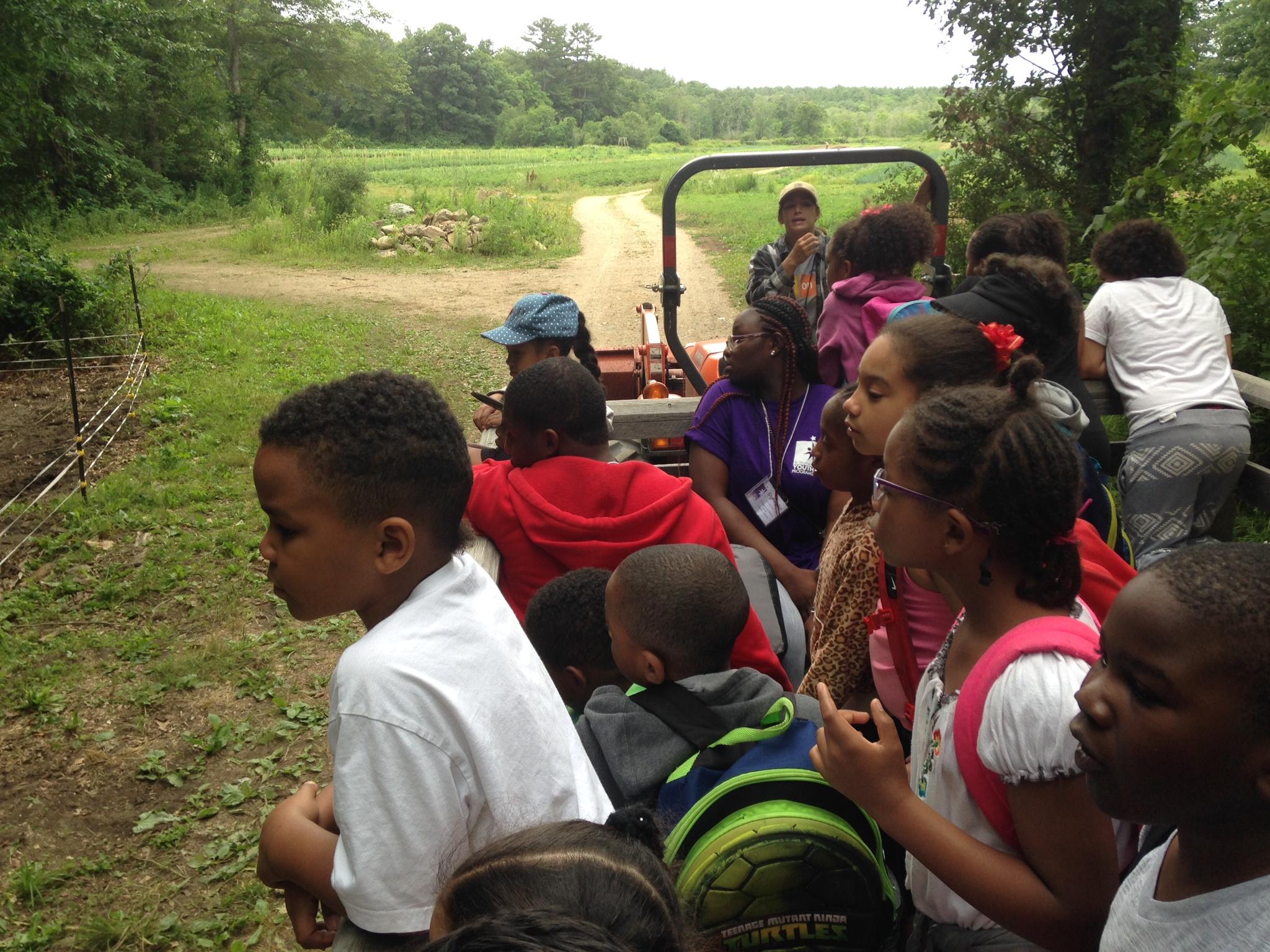 Kids on tour of Green Meadow Farm
