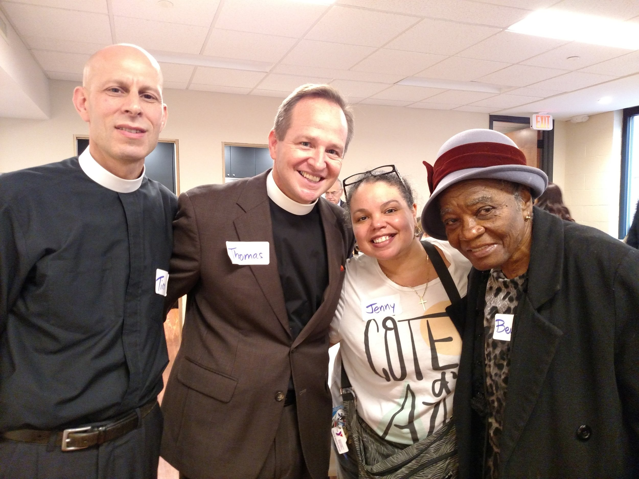 Rev. Tim Crellin, Rev. Thomas Brown of Parish of the Epiphany, and Jenny Gray and Beulah Roach, longtime parishioners of St. Stephen's.