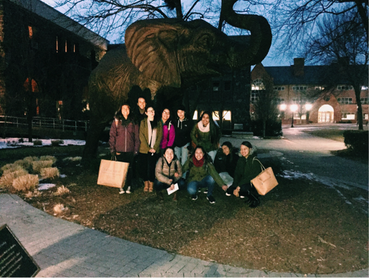 We found the elephant and were slightly disappointed when we learned it was not real. Anyway, Go Jumbos!