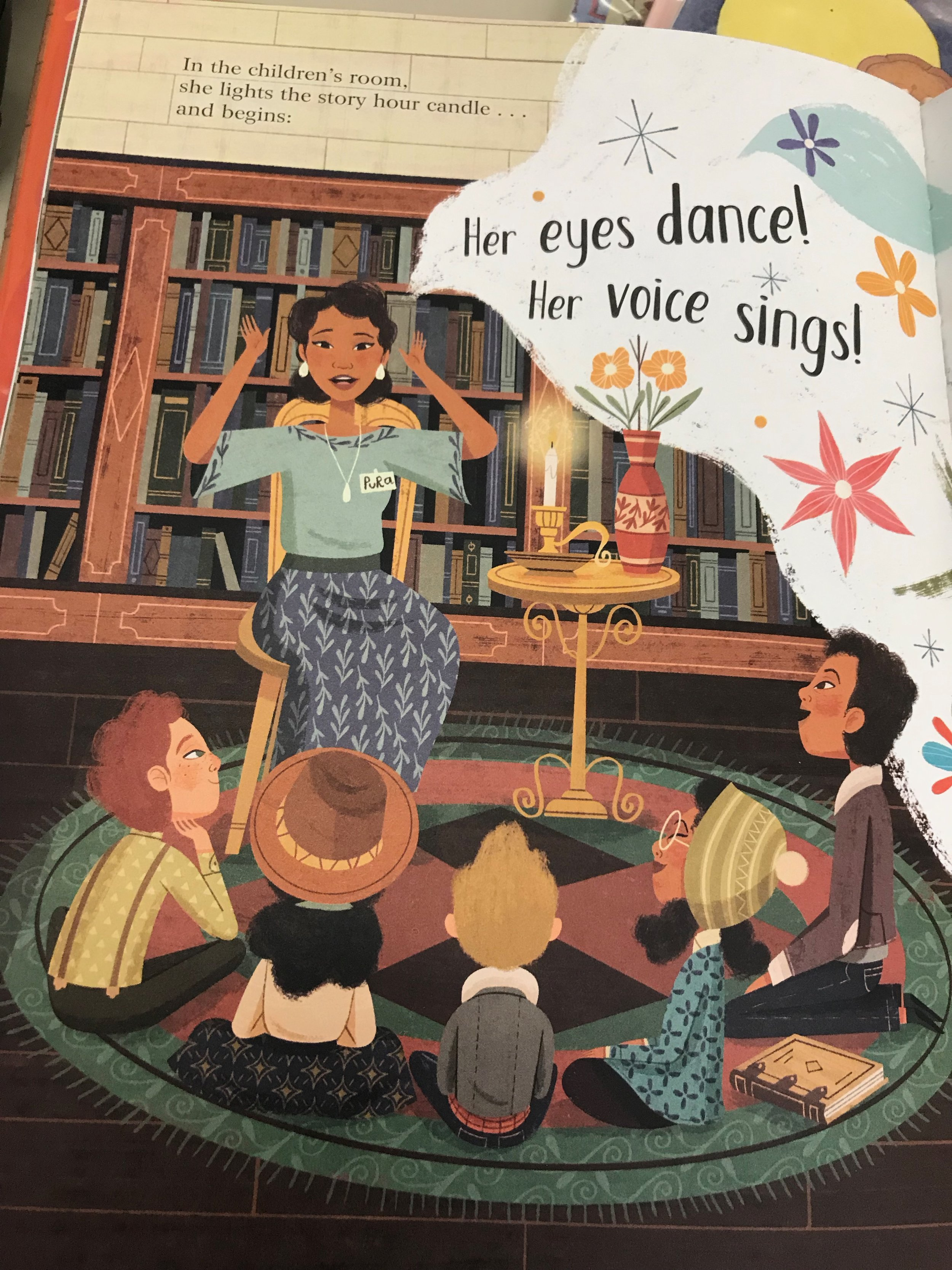 From   Planting Stories: The Life of Librarian and Storyteller Pura Belpré   by Anika Aldamuy Denise (illustrated by Paola Escobar). Published by HarperCollins 2019.