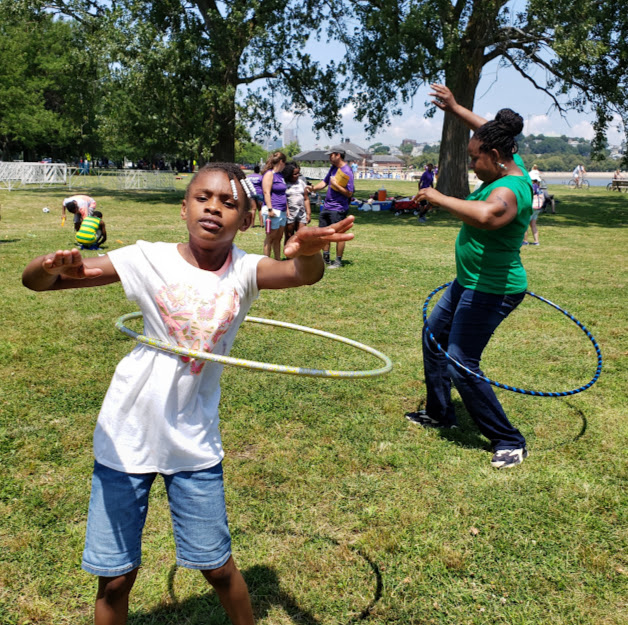 Families joined the fun at the Anniversary Carnival, including the hula hoop competition!