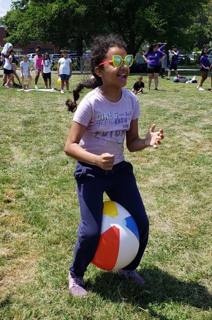Beach ball relay races!