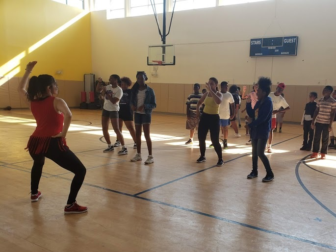 Morning Zumba with families at B-SAFE at Epiphany in Dorchester!