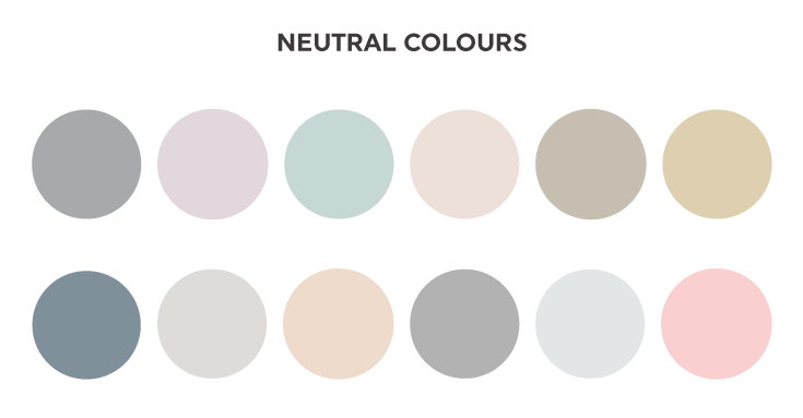 Examples of neutral colours you can add to your colour palettes. On www.littledotcreative.com