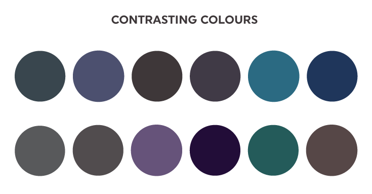 Examples of contrasting colours.
