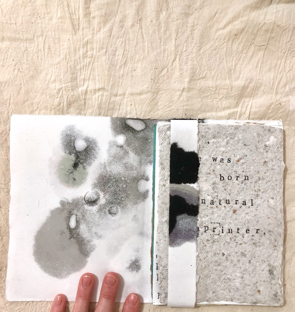 A collection of somewhat autobiographical micro stories (inside cover)   Ink on handmade paper