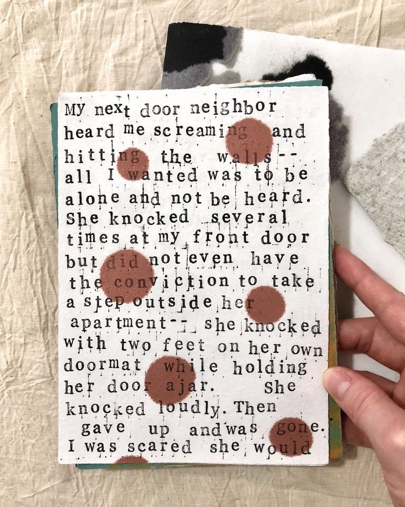 Next Door Neighbor (page 1) from A collection of somewhat autobiographical micro stories   Ink on handmade paper