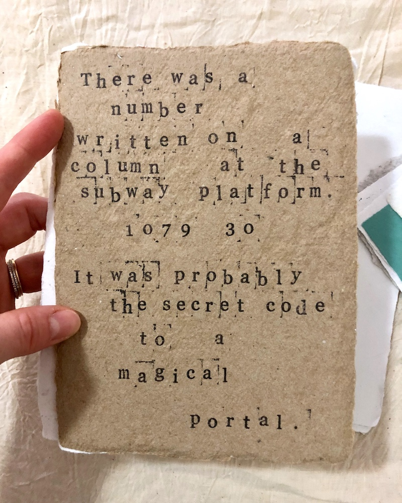 Secret Code from A collection of somewhat autobiographical micro stories   Ink on handmade paper