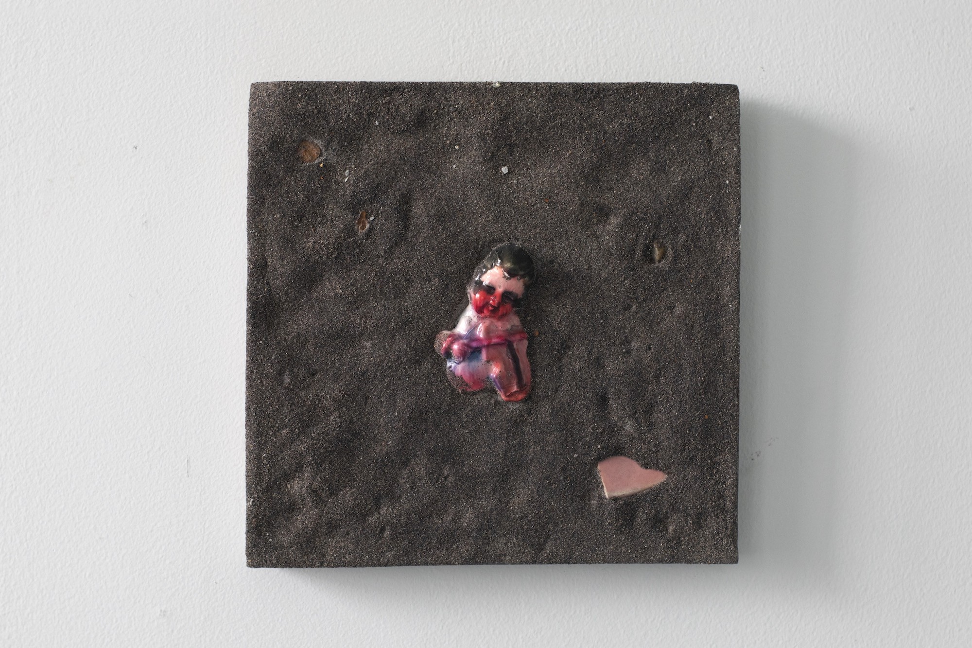 "Matter of Belonging   (tile, no. 1)   11"" x 11""  plaster, tempera, sand, glass, china, watercolor"