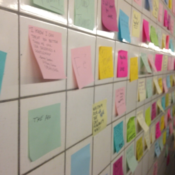 New Yorkers have turned a subway tunnel in Union Square into a therapy wall.