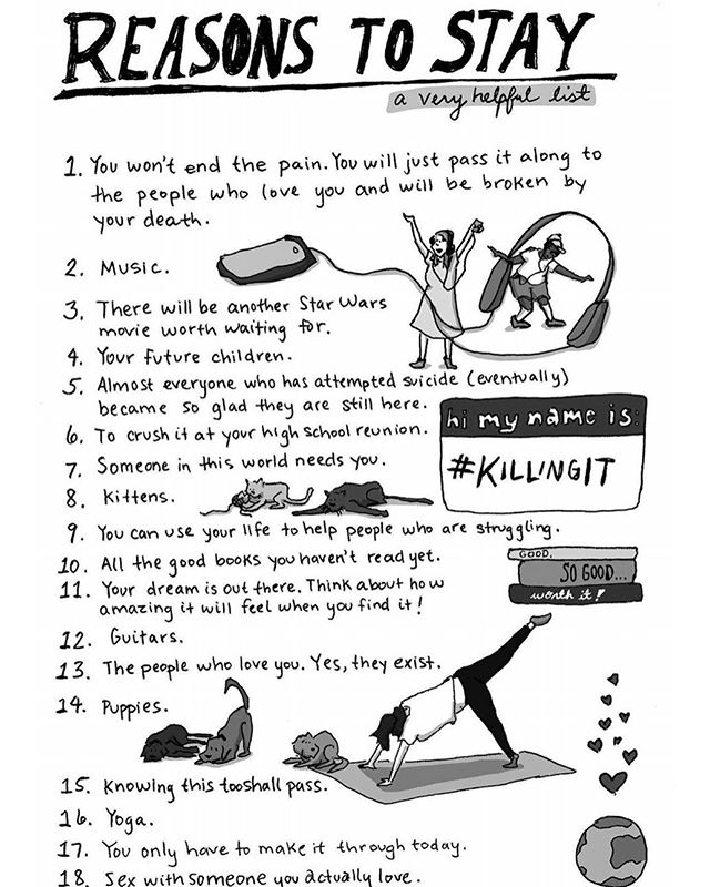 """Make a list of #ReasonstoStay for those moments when life and mental illness makes you feel like you can't keep going. Get started with this one from by @cartoonsbyhilary from my book, """"Everything Is Going to Be OK."""" #suicideprevention #mentalillness #anxiety #depression #realtalk"""