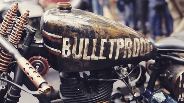 A crazy #custombike at the #RoyalEnfield #RiderMania in #Vagator #Goa  Head over to our website for some more visual treats.  #enfield #bullet #enfieldtown #custom #bike #motorcycle #madelikeagun #rideslikeabullet #hilltop #enfielddiaries #RoyalEnfieldIndia #goatourist #pickmygoapic #bulletjournalchallenge #bulletproof