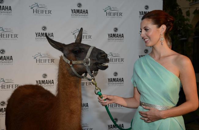 Eva Amurri Martino with special guest. © Heifer International