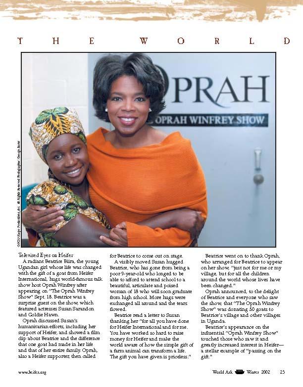 Oprah Winfrey - Article on Beatrice Biira segment on The Oprah Winfrey Show, World Ark Winter 2002 Article.jpg