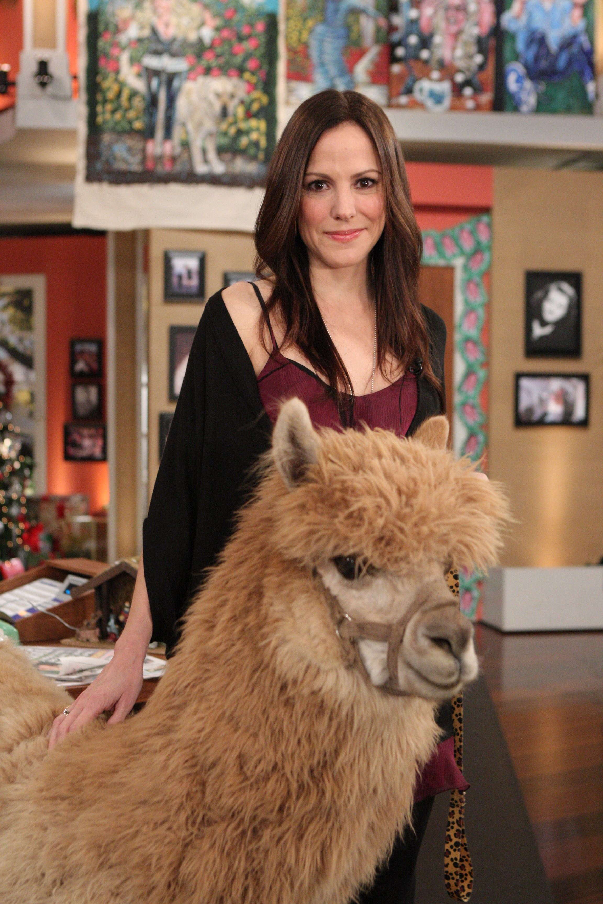 Mary-Louise Parker with alpaca, Bonnie Hunt Show photo #3.jpg
