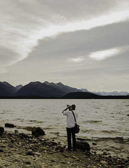 Photographing at Lake Manapouri, New Zealand.  Photo by Barbara Van Winkle