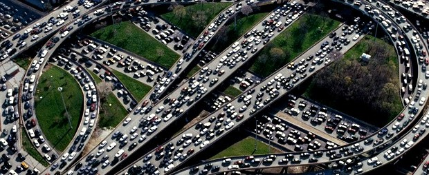 Typical traffic on the Grand Central Parkway /Van Wyck Expressway interchange