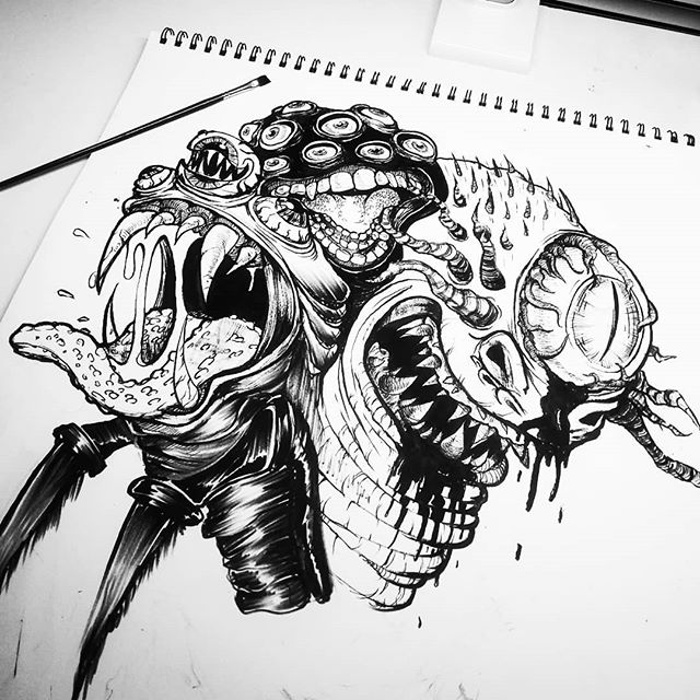 Warming up for the workweek with some monstrosities. Calling it a #wip for now 👍🏻✨ . #illustration #horror #monster #characterdesign #penandink #blackandwhite #spooky #surrealism #scary #art #drawing #sketch #sketchbook #columbusart #columbusartist