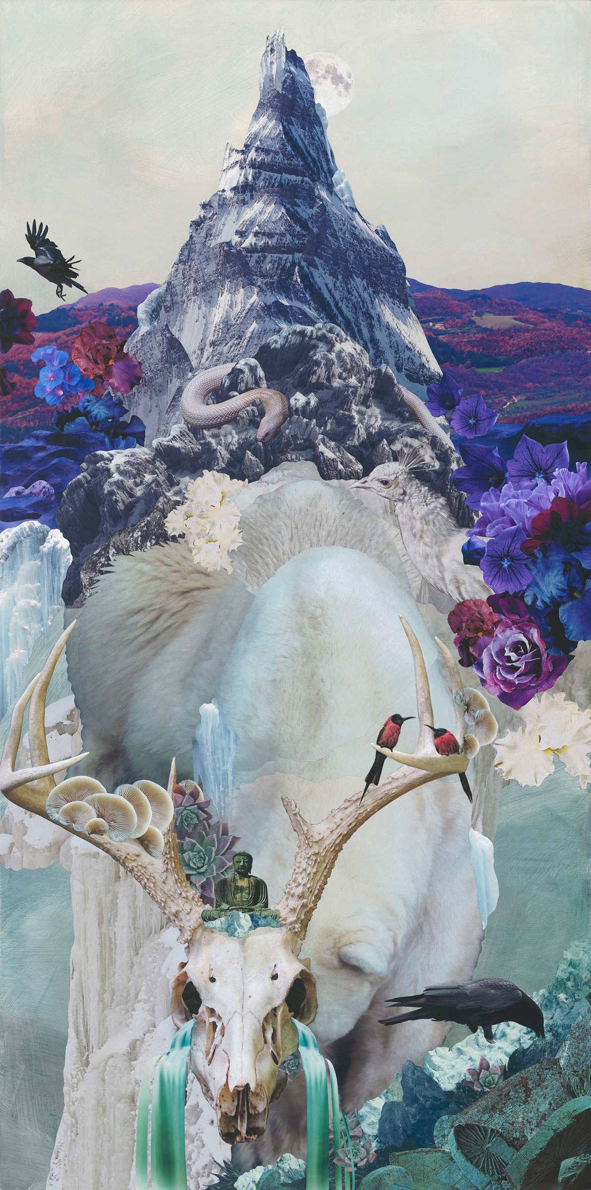 "Resurrection— 24"" x 48"", Mixed media on cradled panel board, $1750"