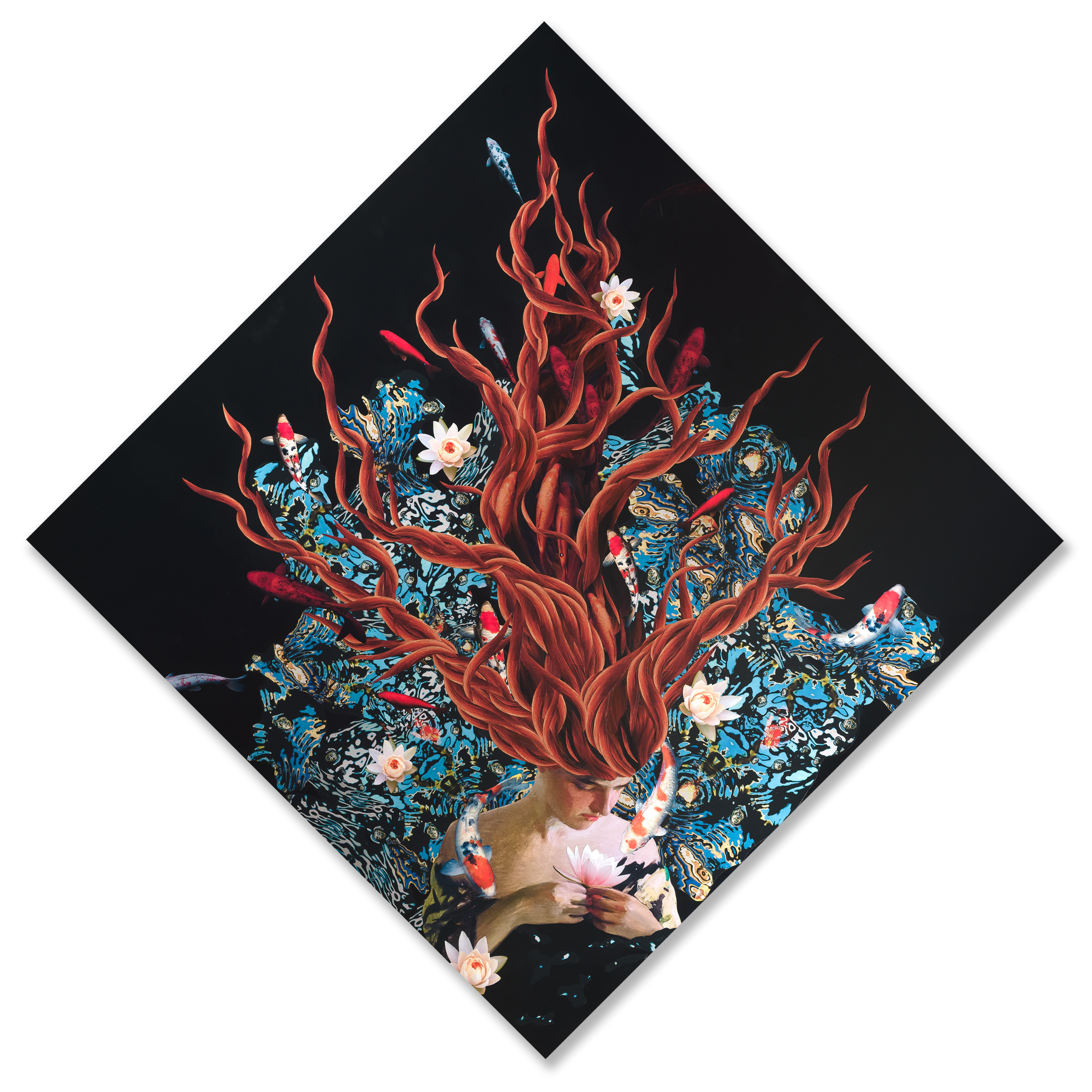 "Koi Garden,  (original size 68"" when hung)   ORDER"