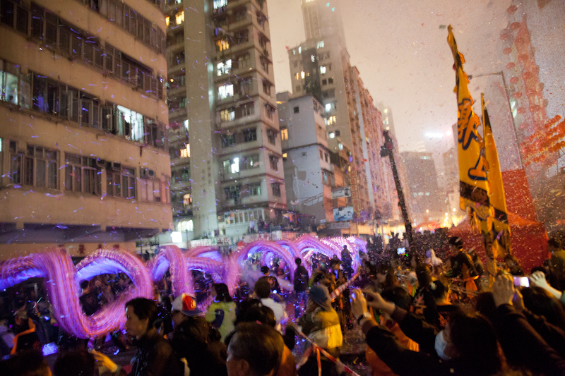 Chinese New Year celebrations in Tai Kok Tsui, Hong Kong, January 2012