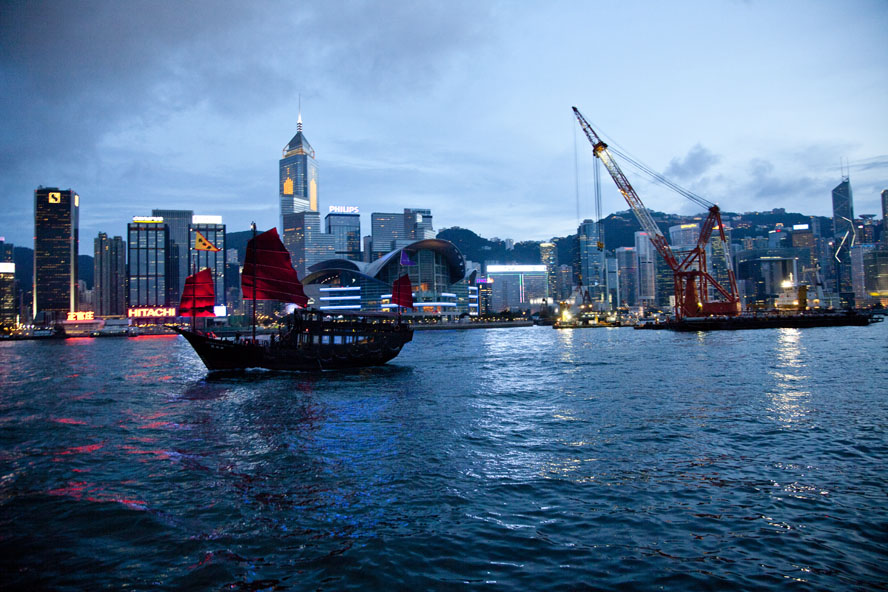 The Aqua Luna junk boat sails through Victoria Harbour in Hong Kong, August 2011.