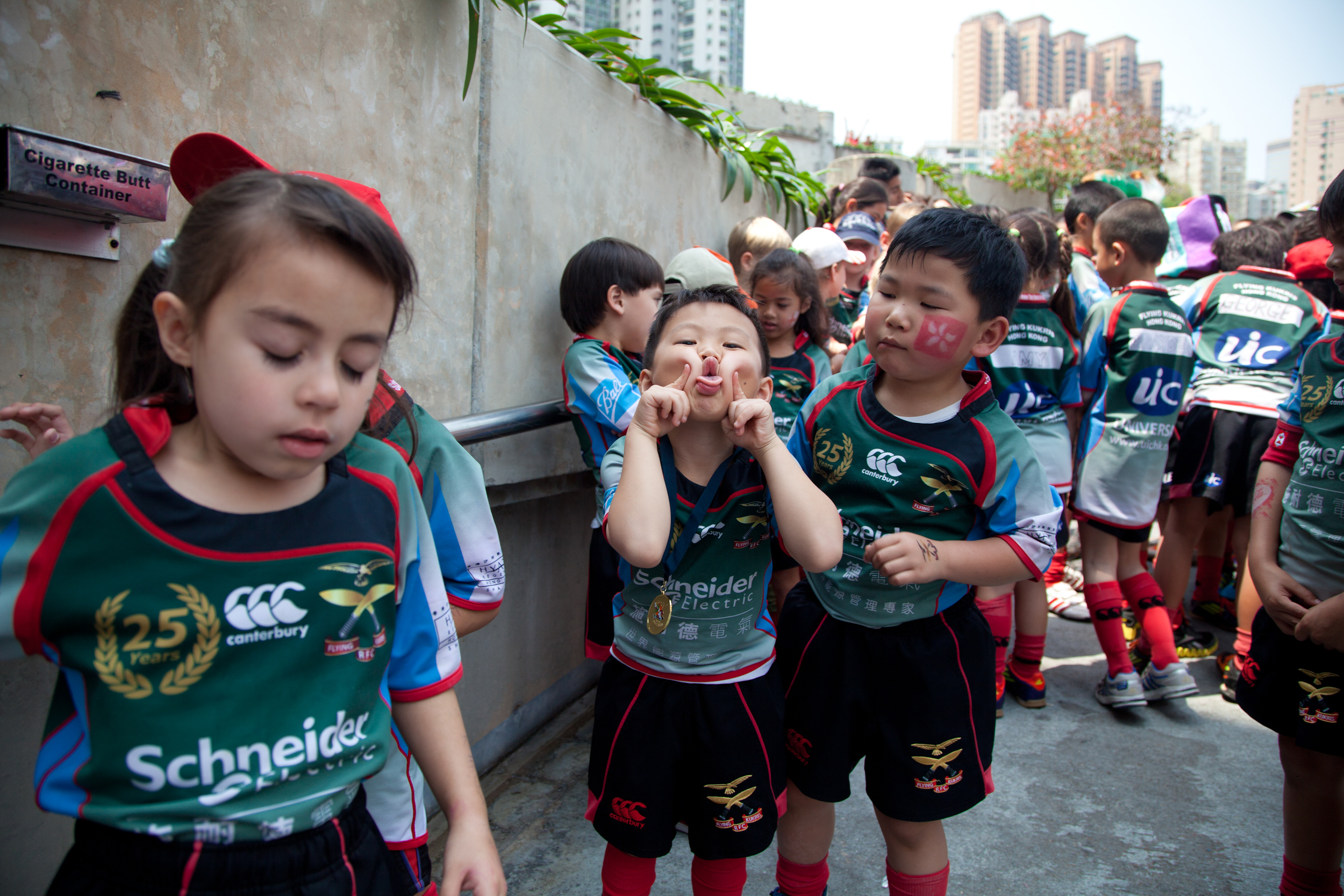 Local school children attending the Hong Kong Rugby 7s tournament, March 2012.