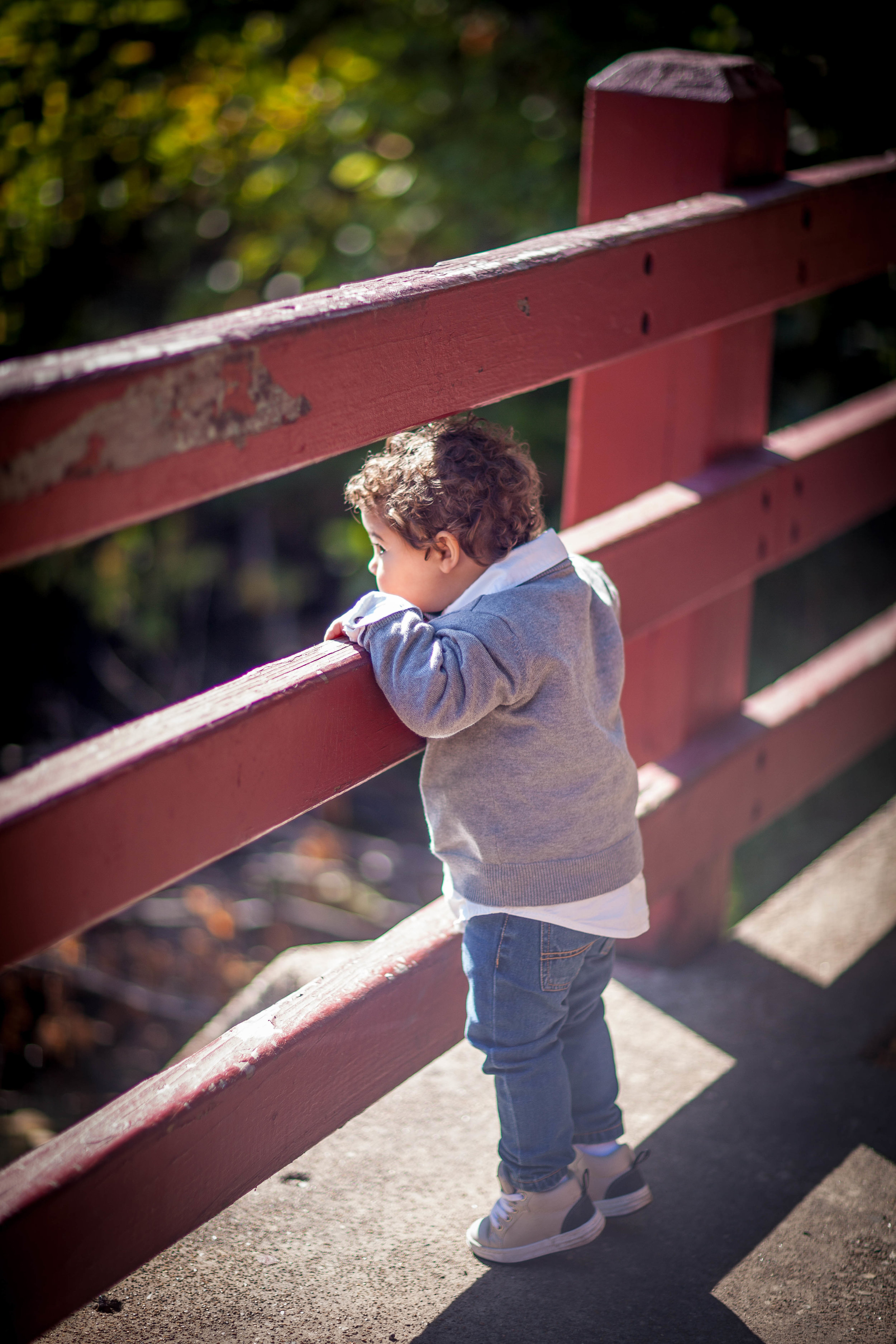 toddler on a bridge, chicago kids photographer