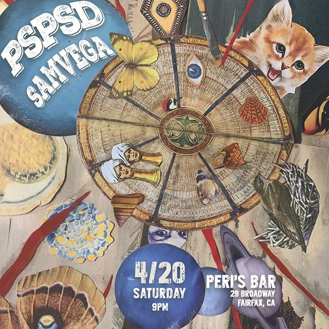 Tonight!!! @perisfairfax!  Surreal collage @antonparisi  Thanks @grimlemur!! 💛💛💛 W @psdspband !!! . . #keepitsurreal #surrealism #psychrock #heavypsych #bandifartists